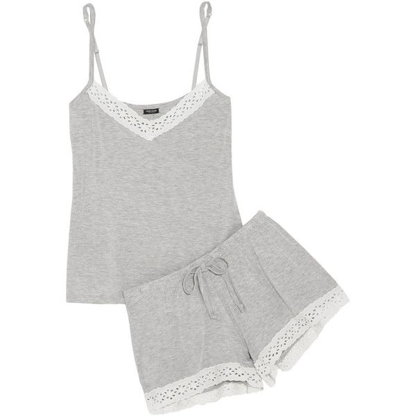 Heidi Klum Intimates Petite Manon broderie anglaise-trimmed... (105 CAD) ❤ liked on Polyvore featuring intimates, sleepwear, pajamas, silver, petite sleepwear, summer sleepwear, petite pajama sets, modal pajamas and summer pajamas