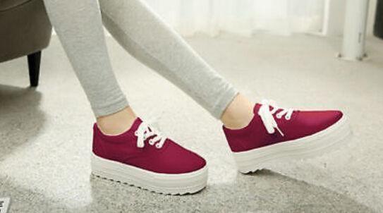 Para mujer crepper Plataforma Con Cordones Lienzo Zapatillas Tenis De Tacón Alto Zapatos Creepers