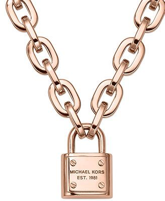 Michael Kors Rose Gold-Tone Chain Padlock Pendant Necklace-Macys.com