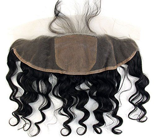 Ms Fenda Hair 100% Raw Remy Virgin Peruvian Human Hair Loose Wave style Natural Black Color Bleached Knots 4X4 silk base 13x4 Free Part Lace Frontal Closure(20inch)