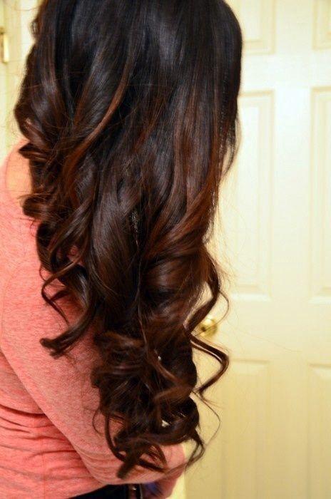 Shoulder Length Dark Brown Hair With Caramel Highlights Underneath