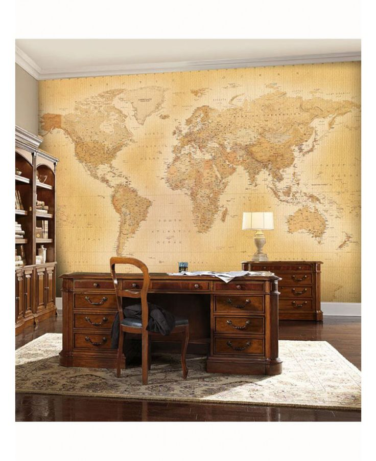 Fantastic Vintage World Map Wall Mural 2.32m x 1.58m. Transform any room with this easy to apply wall mural. Just treat like normal wallpaper. Free delivery available.