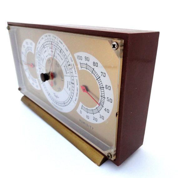 Vintage Weather Station/Taylor Bakelite Barometer/Mid Century USA Made Storm Center, Barometer and Humidity/Desktop Weather Center/