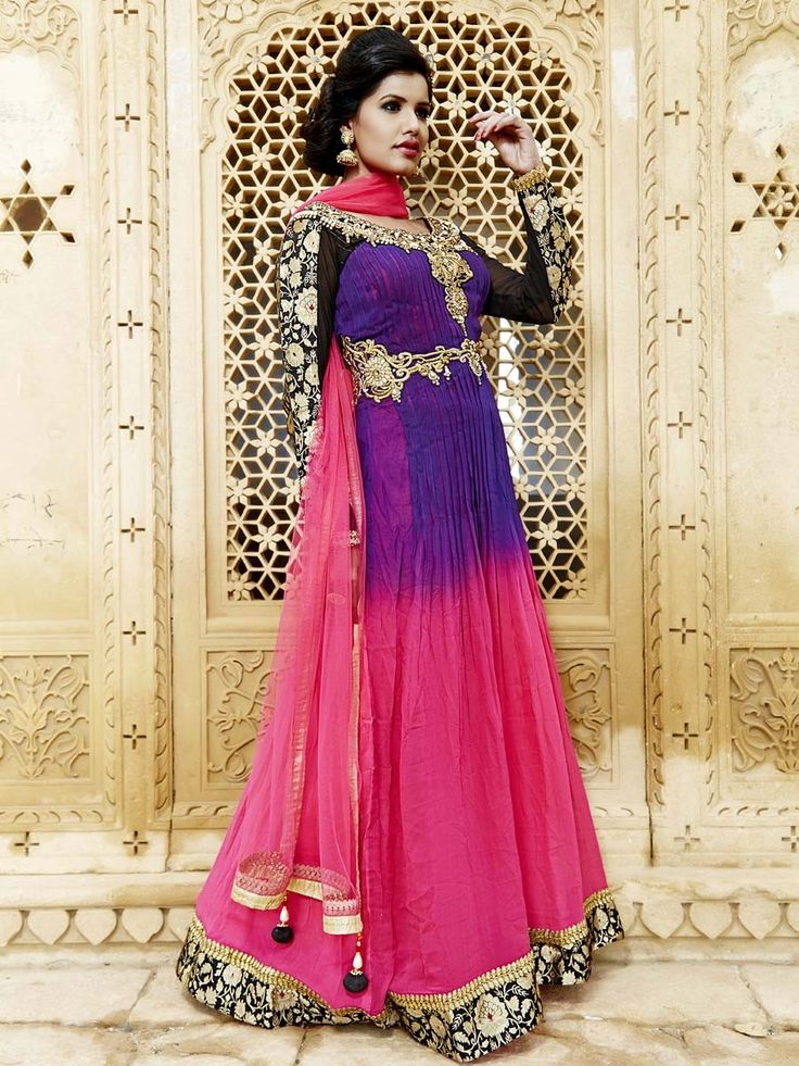Stunning rani pink and purple color ankle length anarkali planed on georgette with glossy cutdana, pearls work. Item code: SLKD811 Shop more: http://www.bharatplaza.com/women/readymade-suits.html