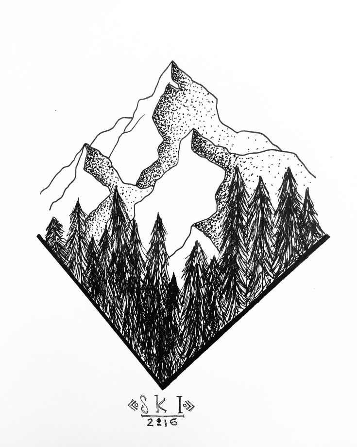 Pen drawing of mountain range with forest