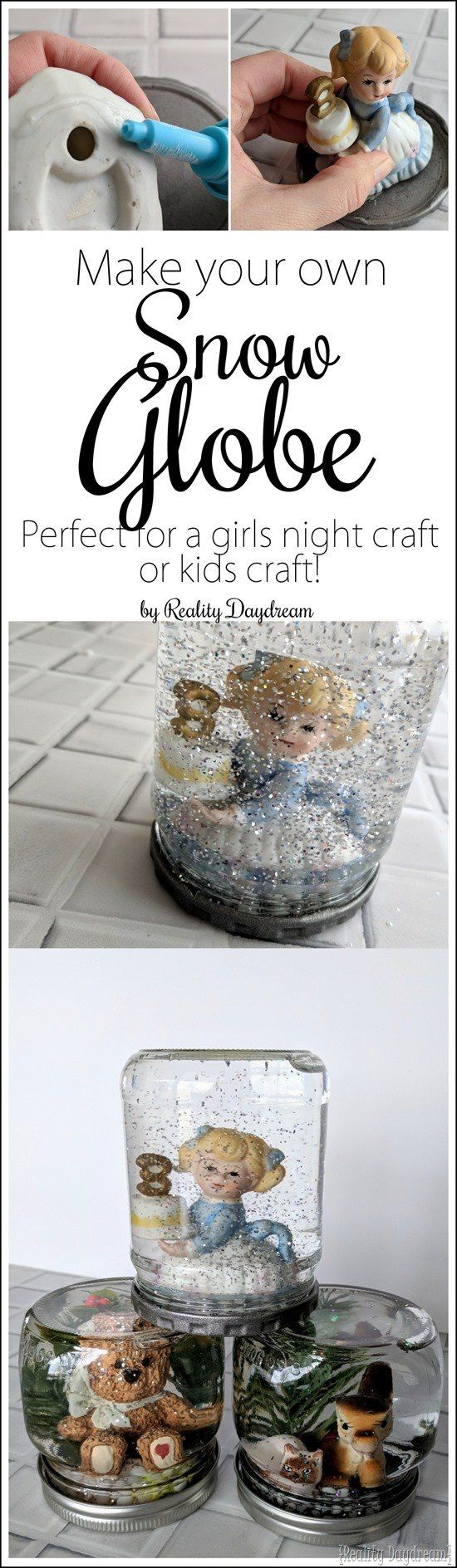 Make your own snow globe with this fun DIY craft - perfect for girls night or kids craft ideas! {Reality Daydream}