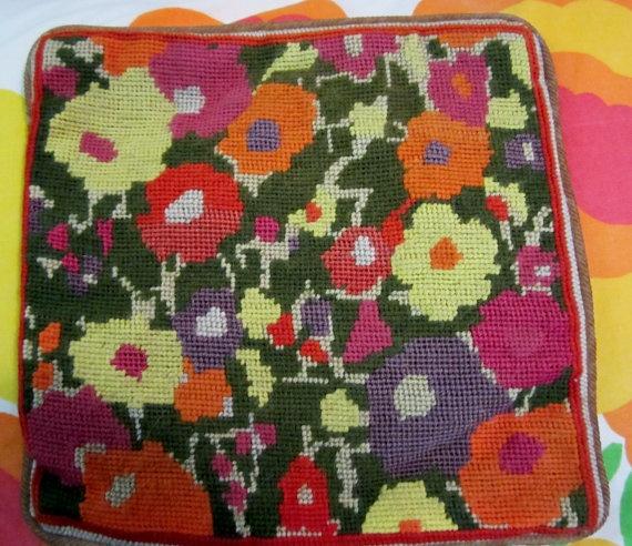 Vintage 1970s Needlepoint Pillow Cover-Retro Flower Power.