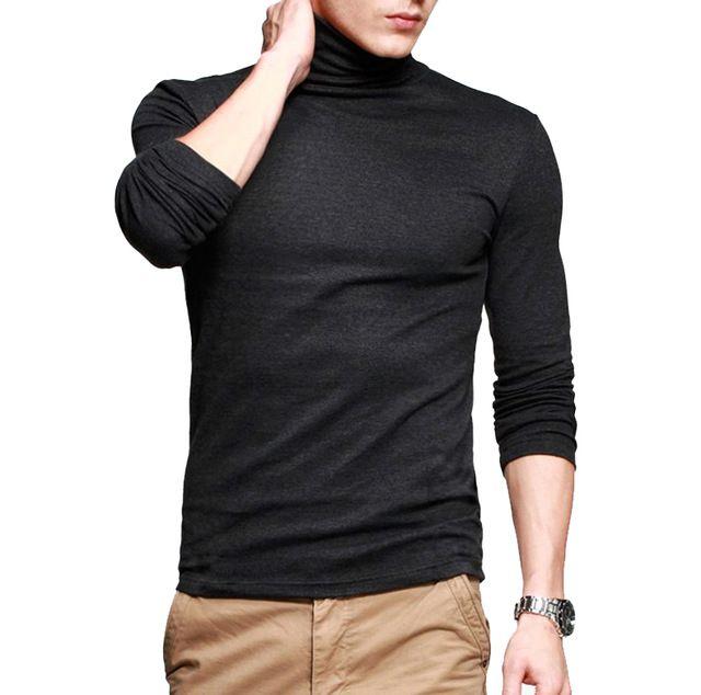 Оптовая и Розничная Мужская футболка Basic Tee С Длинным Рукавом Водолазки Тонкий Высокая Эластичность Ml XL XXL ST-804