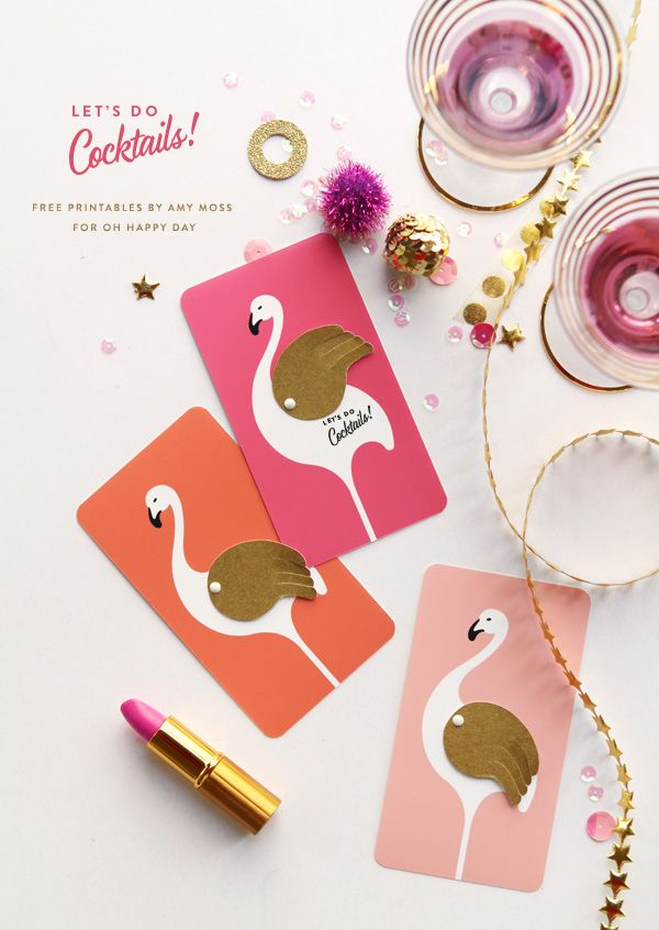 'Let's Do Cocktails' #flamingo Printable Invitations | Oh Happy Day!