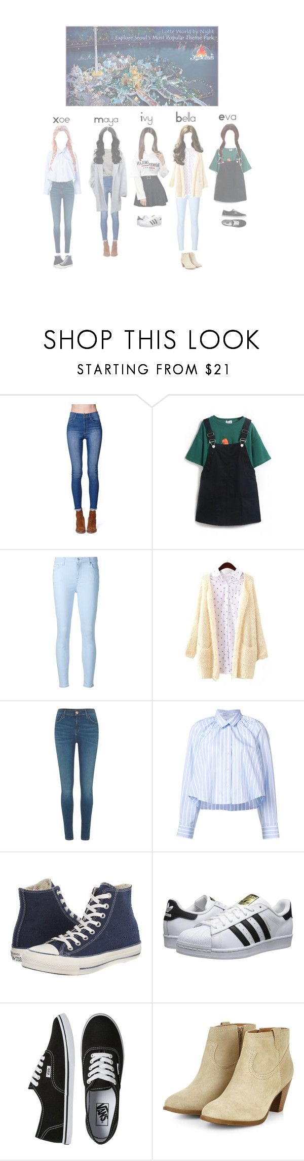 """""""Gems going to LOTTE world with girls of eightoeight!"""" by kpopgroups101 ❤ liked on Polyvore featuring Bullhead Denim Co., 7 For All Mankind, River Island, Tome, Guide London, Converse, adidas Originals and Vans"""