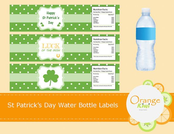 St Patrick's Day Party Decor Water Bottle by OrangeKiwiDesign