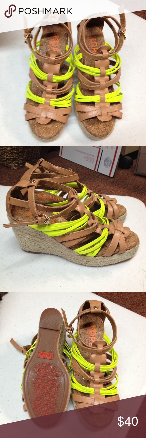 Michael Kors Strappy Wedges! Size 7 tan and yellow wedge heels by Michael Kors. Shoes are pre-loved but in very good condition. Minimal wear. KORS Michael Kors Shoes Wedges