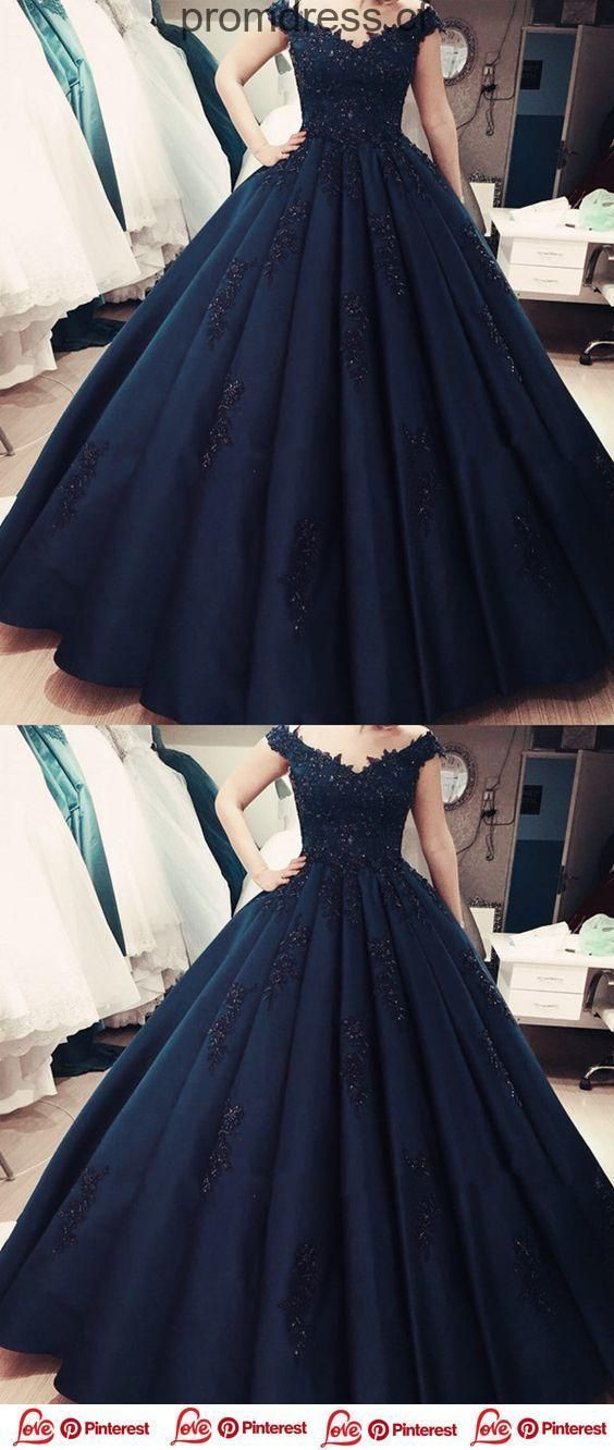 Charming Navy Blue Appliques Quinceanera Dresses, Formal Ball Gown Prom Dresses, Formal Gown