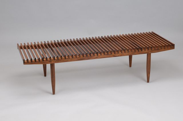 Sam Maloof's Walnut Slat top coffee table.  Who says a table needs a solid top?  I love Maloof furniture.
