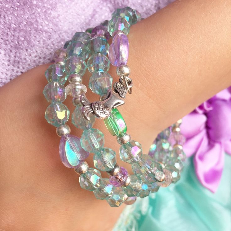 Jewelry Making Birthday party kits by Beading Buds.  Blue and purple bracelet with mermaid charm.