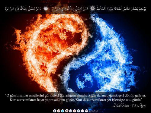 """""""O gün insanlar amellerini görmeleri (karşılığını almaları) için darmadağınık geri dönüp gelirler. Kim zerre miktarı hayır yapmışsa onu görür. Kim de zerre miktarı şer işlemişse onu görür.""""  Zilzal Suresi - 6-8. Ayetler Arası  #Allah, #kitap, #quran, #kuran, #ayet, #meal, #sure, #resimliayet, #peygamber, #prophet, #religion, #islam, #din, #amel, #iyilik, #hayır, #şer, #kötülük, #zerre"""
