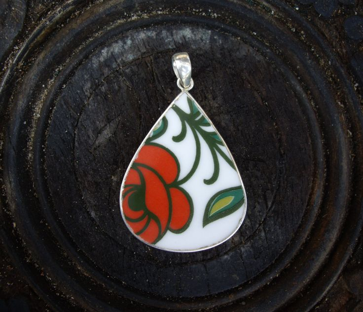 Red Rose Antique Broken China 925 Silver Pendant by AaronKiddDesign on Etsy