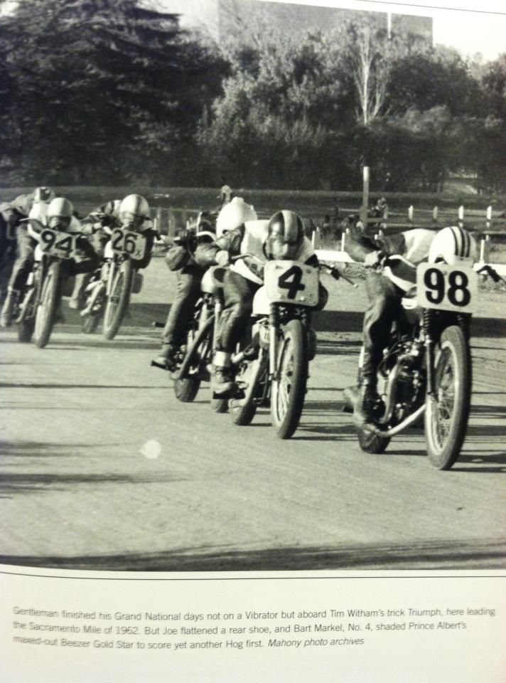 Wow, Joe Leonard, Bart Markel and Al Gunter. Fast crowd! 1962 Sacramento Mile.