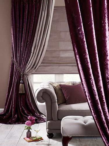 Here deep pile velvet has a crushed finish and in this plum colourway it's absolutely beautiful, from lightest amethyst through to darkest plum.