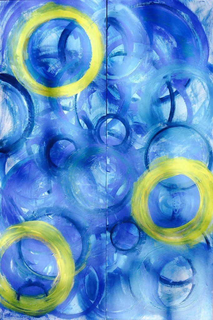 Blue Circles Abstract Wall Art
