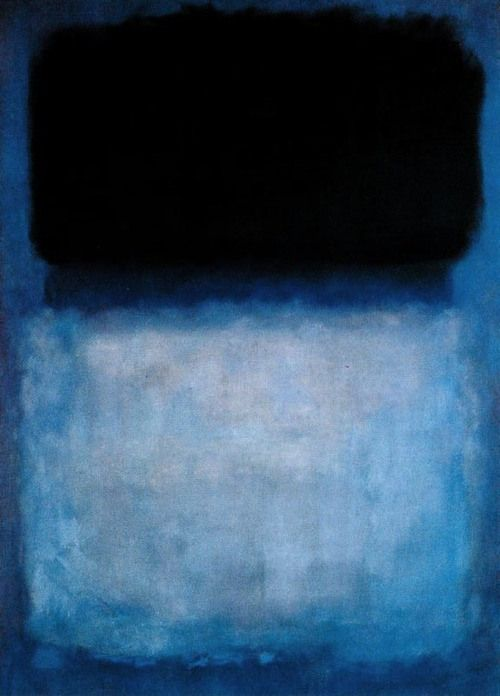 """Mark Rothko, Green Over Blue, 1956.  """"I'm not an abstractionist. I'm not interested in the relationship of color or form or anything else. I'm interested only in expressing basic human emotions: tragedy, ecstasy, doom, and so on."""""""