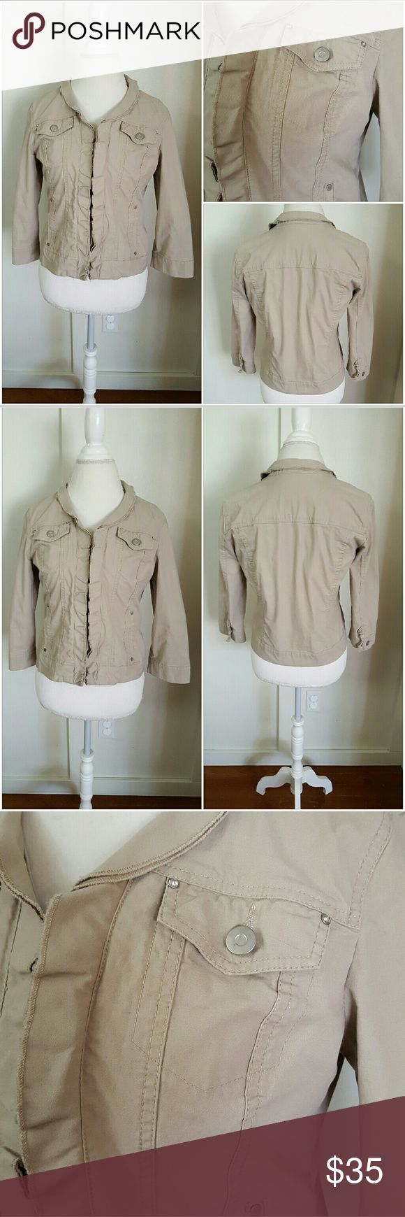 Christopher and Banks Small Tan Jean Jacket Christopher and Banks small tan jean jacket. Long sleeves. Hook and eye closure down the front. Ruffles down the front closure. Four front pockets. Two rhinestones on each top pocket. Pre-owned and in good condition. The bottom hook and eye closure is missing, however, there is not much space in between that one and the one above it. In other words, you won't be able to tell. (Also they are easy to find at fabric stores) 98% Cotton 2% Spandex…