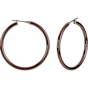 Amazon.com: AmalfiTM Chocolate Gold Immersion Plated Stainless Steel Hoop Earrings: Jewelry