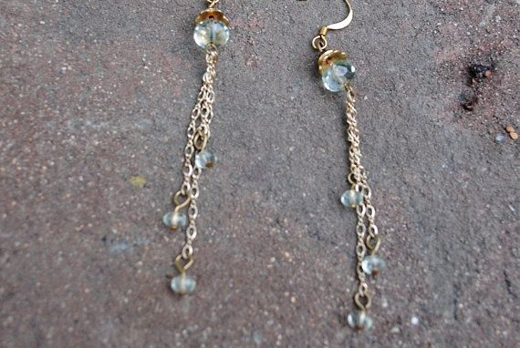 Aqua chain earrings