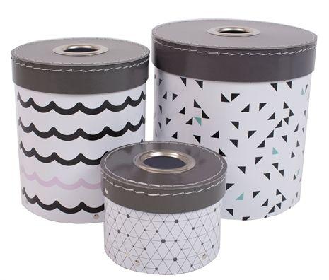 Jox trendig, låda med lock, 3 pack, strösslig oppbevaringsbokser ...