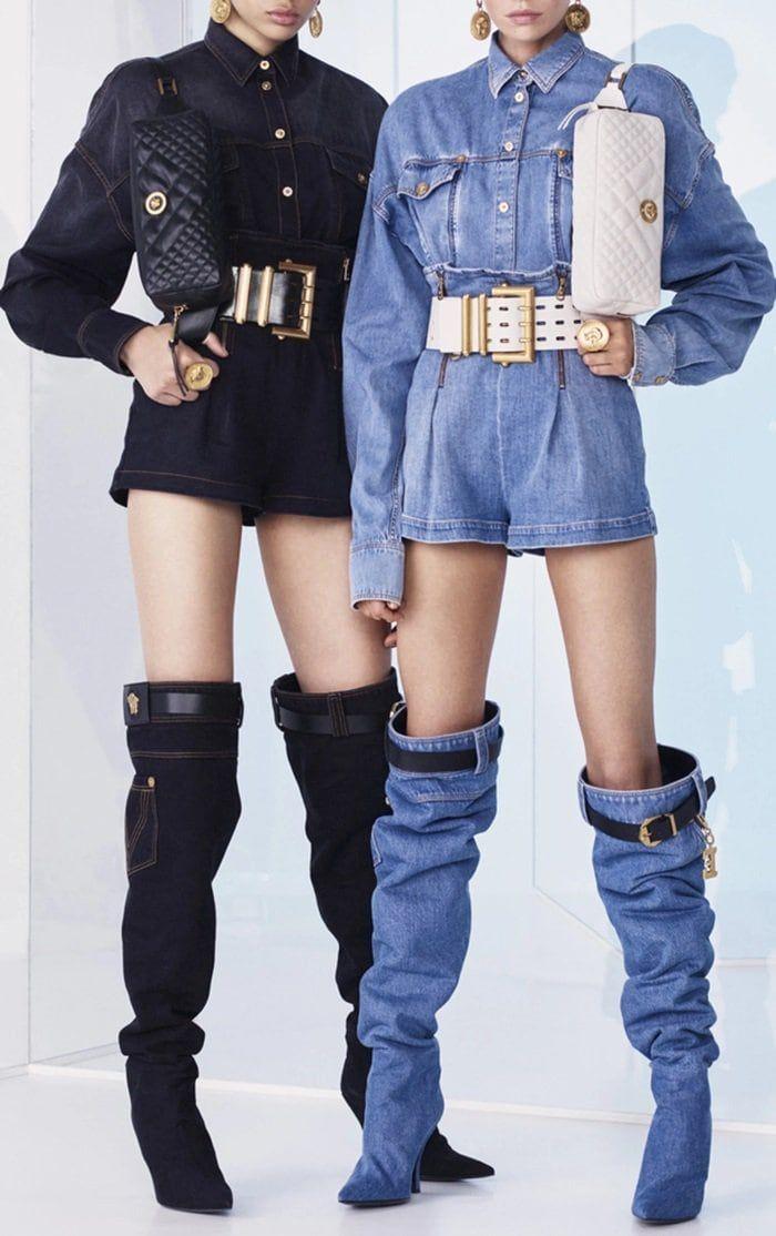 This Versace boot is rendered in denim
