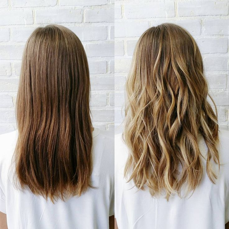 Before and after of a sun-kissed,  natural balayage. Low maintenance hair.