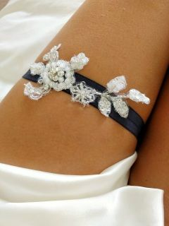 Navy Bluse single garter with embellished lace. Email us at sandbco@outook.com for matching throw garter