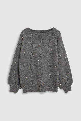 25bba6f58 Charcoal Pearl Embellished Bardot Sweater