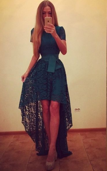 Lace Up Hollow Out Scoop Short Sleeves Irregular Solid Dress
