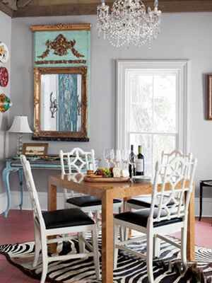 Eclectic Indiana Farmhouses Dining Rooms Italian Chandelier Midcentury Parsons Table Louis XVI Style Mirror And Console Zebra Rug