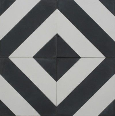 25927 Diagonal B&W Encaustic Cement tile