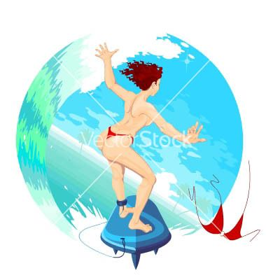 Surfergirl sliding on the ocean waves vector