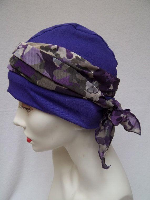 Chemo Hat Purple  Alopecia Cancer Sleep Cap Cloche by NinisNiche, $28.00