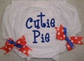 Orange and Blue Cutie Pie Diaper Cover.  Ribbons Snap on and off for easy washing.  So Cute!