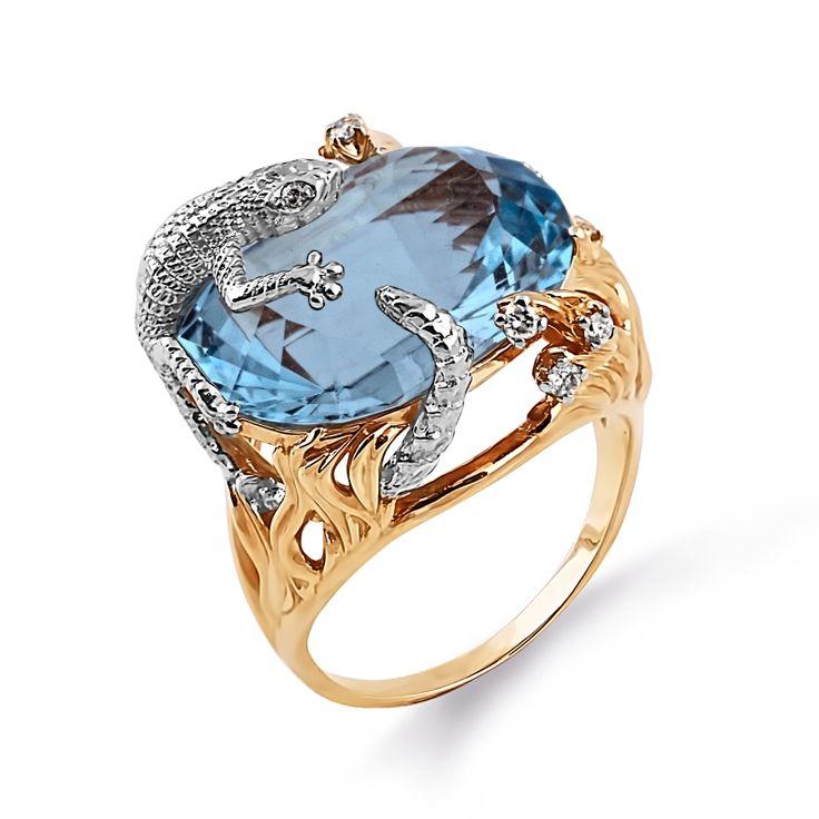 Кольцо классическое женское из красного золота 585 пробы с белыми бриллиантами и топазом (арт. Т141014144) - ювелирный магазин KARATOV.RU
