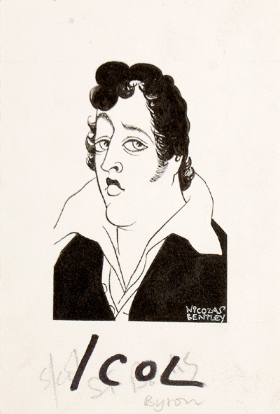 Byron. A noticeably supercilious Lord Byron.    Sheet size: 165 × 112 mm. Pen and ink on wove paper. Stamped on verso for publication in the Sunday Telegraph.