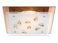 Wykończenie w kolorze złotym  Szkło mleczne  Kryształowe dekoracje  Źródło światła 2xE27 40W, brak w wyposażeniu  Oprawa przystosowana do żarówek o kl.en. od A++ do E