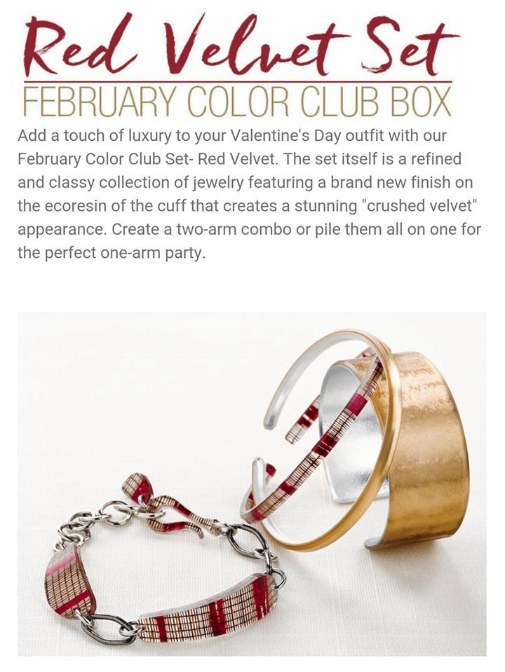 "Introducing February's Color Club set Red Velvet! The cuff features a new ecoresin finish that gives the appearance of ""crushed velvet"". The Wine interlayer comes from our Full Circle artisans in Indonesia. Wine is made with fibers pulled from the abaca plant and hand-dyed. As always add  items to receive a discount-including new releases! https://heatheryoung.mycolorbyamber.com/shop/color-club #monthlybox #ecochic #save #nostress #armcandy #cbaarmparty"