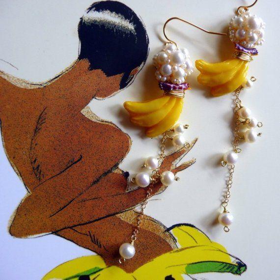 Josephine Baker Banana Dance Earrings - Freshwater Pearls and Vintage Plastic Bananas via Etsy