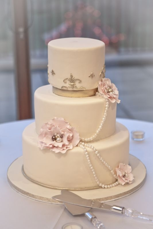 Elegant White Gold Pink Blush Cake With Flowers And Pearls