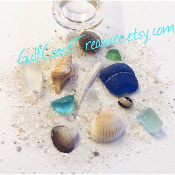 Beach in a Bottle, Mini bottle of genuine sea glass Florida Sea Shell and Sand Texas Florida sea glass gift ocean tumbled authentic handmade