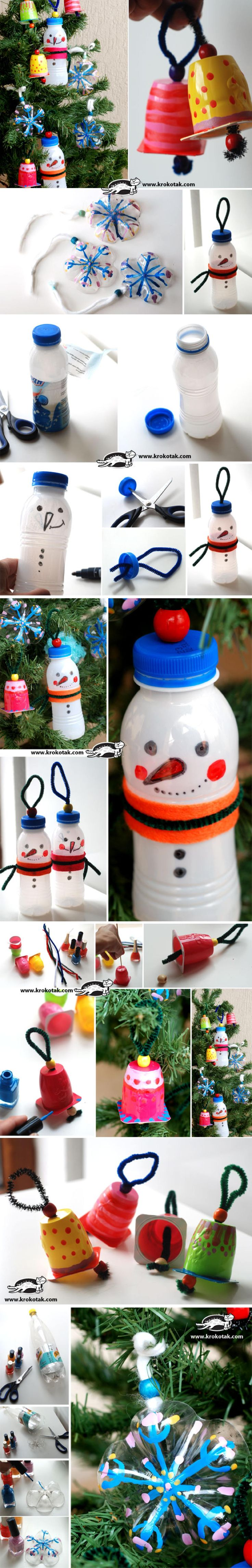 Creative DIY snowman decoration || Reciclar botes de plástico para decorar en navidad / Via krokotak