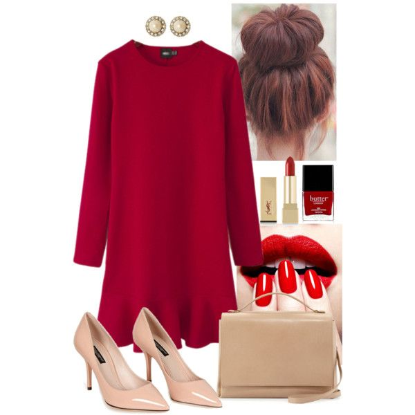 Dinner date #polyvore #red #beige