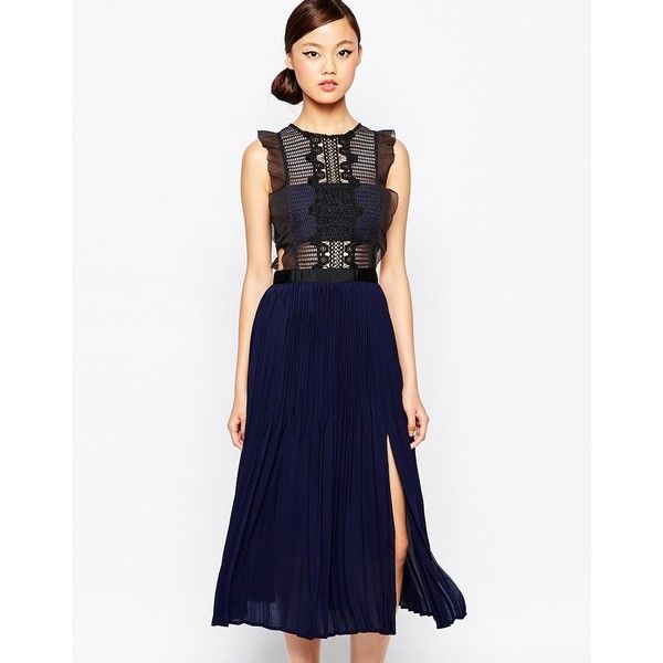 Self Portrait Sleeveless Pleated Lace Dress ($437) ❤ liked on Polyvore featuring dresses, navy gray, sleeveless dress, white lace cocktail dress, tall dresses, flutter-sleeve dress and ruffle dress