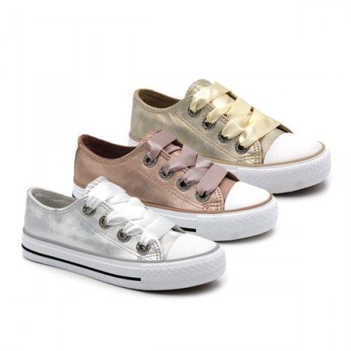 Zapatillas metalizadas, tipo #converse, con cordones de raso